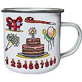 Nuevo Regalo Del Feliz Cumpleaños Retro, lata, taza del esmalte 10oz/280ml l966e