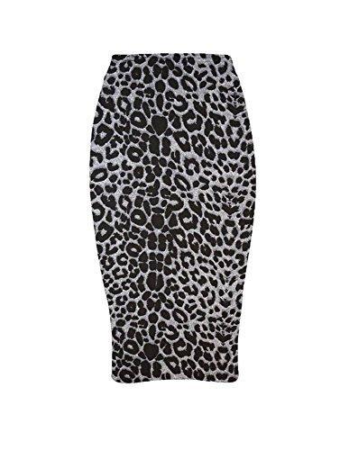 haute pour DIVA 's nouvelles dames Womens imprimé camouflage Crâne écossais léopard moulant Jupe crayon mi-longue Tube UK 8-22 gris léopard