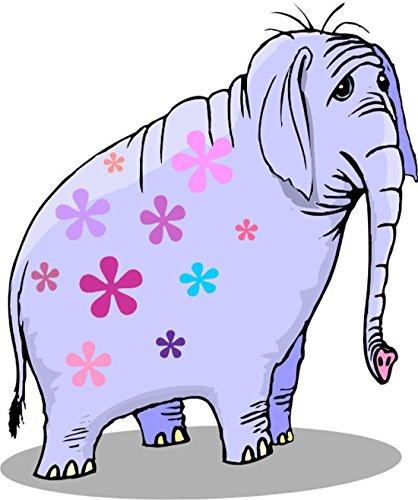 T-Shirt E922 Schönes T-Shirt mit farbigem Brustaufdruck - Logo / Grafik - Comic Design - depressiver Zirkus Elefant mit Blumen Mehrfarbig