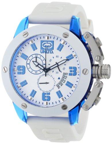 Marc Ecko - E14509G5 - The Tran - Montre Homme - Quartz Chronographe - Cadran Blanc - Bracelet Caoutchouc Blanc