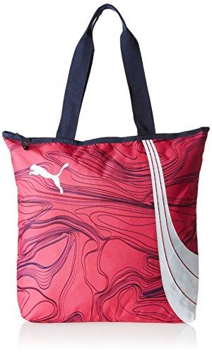 Puma Fundamentals - Borsa/shopper da donna , Donna, Tasche Fundamentals Shopper, Fuchsia Purple/allover lines, 36 x 8 x 41 cm, 17.5 liter