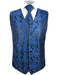 Festliches Westenset 3tlg blau schwarz paisley Hochzeitsweste Paul Malone