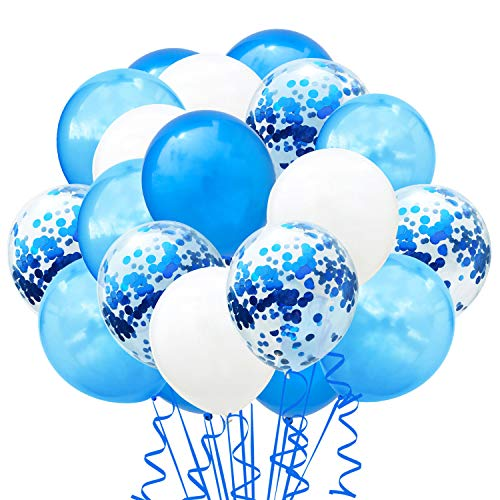 TOPWINRR 60 Stück Helium Party Ballon Hochzeit Deko Luftballons Geburtstag Kinder Latex Konfetti Ballons Dekoration, Blau Hellblau Weiß