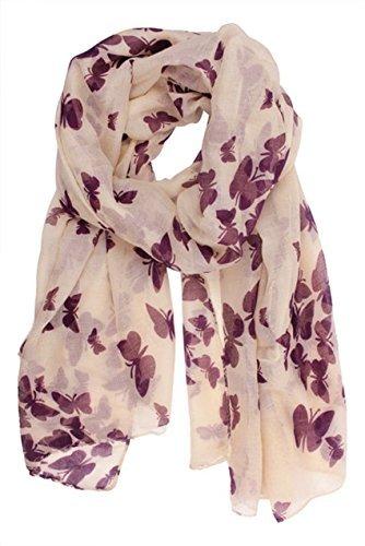 - 51eZAkrSIPL - Butterfly Lady Women Fashion Stylish Soft Scarf Shawl Neck Wrap Headscarf Stole (Butterfly Purple)