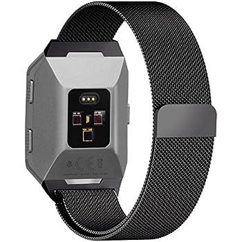 Fullmosa Compatible Bracelet Fitbit Ionic Milanese, Compatible Fitbit Ionic Bracelet Homme/Femme Montre Connectée en Acier Inoxydable, Noir