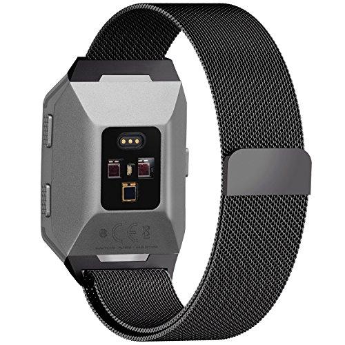 Fullmosa kompatibel Fitbit Ionic Armband,Edelstahl Milanese Ersatzband/Uhrenarmband für Fitbit Ionic,Armbänder für Damen und Herren,-L,Schwarz,