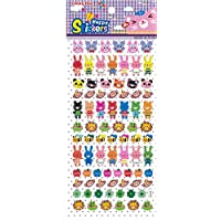 Craftplay Cute animals 3D Stickers - faces only and full figures - Brightly Coloured inclu ding rabbits, mice, cats, bees, monkeys - 1 to 2 cm (1 x sheet Approx. 19.5 x 9.5 cm) CC10