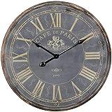 WOHNLING Deko Vintage Wanduhr XXL Ø 60 cm Paris Holz schwarz römische Ziffern | Große Uhr rustikal Dekouhr rund | Designretro Küchenuhr für Küche und Wohnzimmer