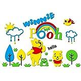 Dessin Animé Enfants Chambre Chambre Maternelle Mur Décoratif 3D Acrylique Sticker Mural-Trompette Winnie L'Ourson B