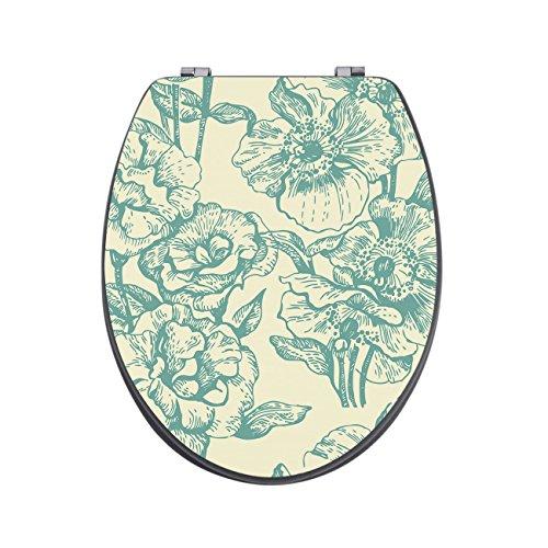banjado Design Toilettensitz in Anthrazit | WC-Sitz Holz MDF 42,3×3,5×37,5cm | Klodeckel mit Edelstahl Scharnieren | Toilettendeckel mit Motiv Blume Petrol