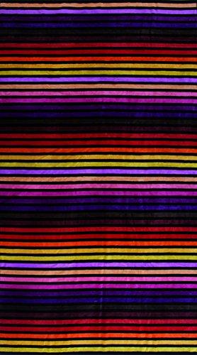 Strandtuch New Day, ca. 100 x 180 cm Velours Badelaken, Gestreiftes Liegetuch, Strandlaken in Rot, Lila, Pink, Gelb, Schwarz (Gestreiften Badelaken)