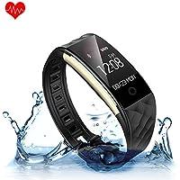 KUNFO Promemoria Bluetooth smart Guarda IP67 intelligente Bracciale impermeabile monitor di frequenza cardiaca di sport Wristband Fitness Tracker Multi-Sport Modalit Health Monitor Pedometro chiamata Messaggio per IOS Android Phone (Nero)