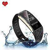 KUNFO Bluetooth Smart Watch IP67 Wasserdichte Smart socken Herzfrequenz-Monitor Sport Wristband Fitness Tracker Multi-Sport-Modus Gesundheit Monitor Pedometer Anruf Nachricht Erinnerung für IOS Android Phone (Schwarz)