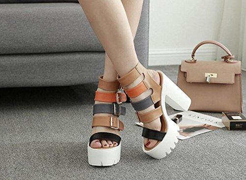 L&Y Scarpe da donna con piattaforma da donna a sandali con zeppa Scarpe con tacco alto scarpe Nero Bianco Bianca