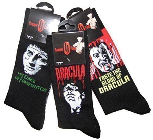 Herren Socken Hammer Filme Dreier Packung Zwei Dracula und One Frankenstein Herren 6-12 (Kostüm Film House)