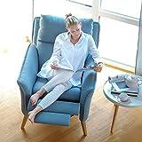 Lounge-Relax-Sessel skandinavisch + Hocker Stillsessel Fernsehsessel Ruhesessel TV-Sessel Stuhl Relaxstuhl Liege Sessel mit verstellbarer Rückenlehne und ausklappbarem Fussteil passend zur kompletten Wohnlandschaft im Landhausstil mit Füssen aus Eiche und Bezug aus hochwertigem Stoff