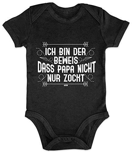 HARIZ Baby Body Kurzarm Ich Bin Der Beweis Zocken Gamer Gaming Sprüche Zocken PC Level Plus Geschenkkarte Pinguin Schwarz 6-12 Monate