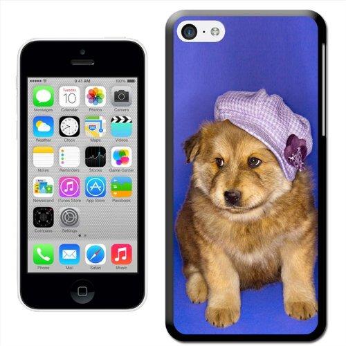 Fancy A Snuggle 'Molliges Hündchen mit lila Hut' 'Hard Case Clip On Back Cover für Apple iPhone 5C Puppy Wearing Cute Purple Hat