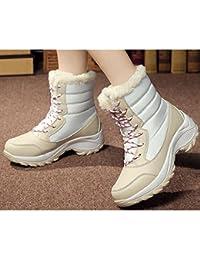 ZHZNVX HSXZ Zapatos de Mujer de Tela Caída de Primavera Comodidad Nieve Botas Botas Botas de Tacón Plano Mid-Calf...