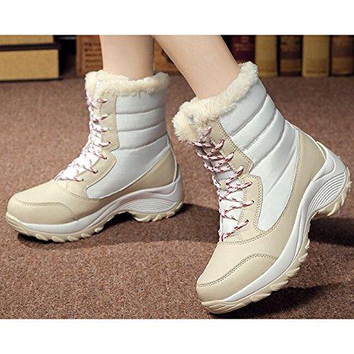 HSXZ Scarpe donna tessuto cadono a molla Comfort Snow Boots stivali tacco piatto Mid-Calf scarponi per Casual Blue Rosso Bianco Nero White