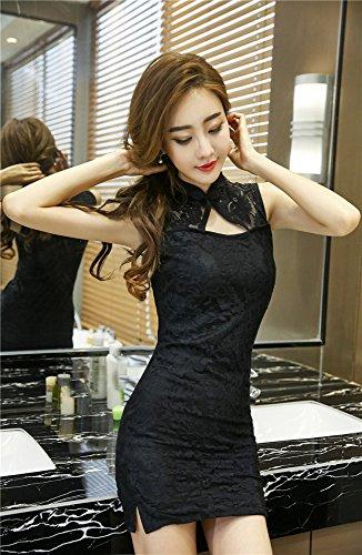 MJY Sexy Dessous, kleine Brust eng anliegende Tasche Hip transparente Spitze Cheongsam Nachtclub Leidenschaft Sekretärin Uniform Anzug,schwarz,Freie Größe (fü -