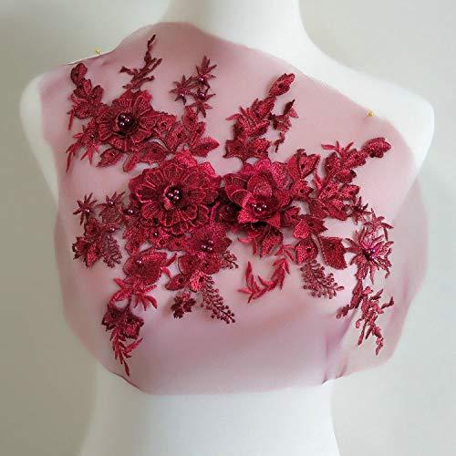 Bestickte Perlen Hot-Drilled dreidimensionale Blume Spitze Applikation 3D Serie Hochzeitskleider/Performance-Bühnenkleider/Kostüm-Zubehör weinrot (Performance Kunst Kostüme)