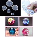 Cuigu estéreo esférica silicona molde Bijoux Faire DIY bolas resina decoración Artesanía Herramientas, silicona, transparente, 5 Taille
