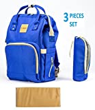 T-Bags Mommy and Baby Large Backpack Diaper Bag Royal Blue with Changing Mat and Bottle Cover-MB30B