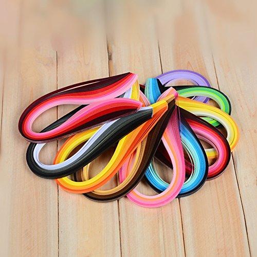 900Streifen Papier Quilling Streifen Kits (Breite 3mm/5/7mm/10mm, Länge 39cm) 5 mm Black/Blue/Brown/Green/Orange/Purple/Red/Yellow