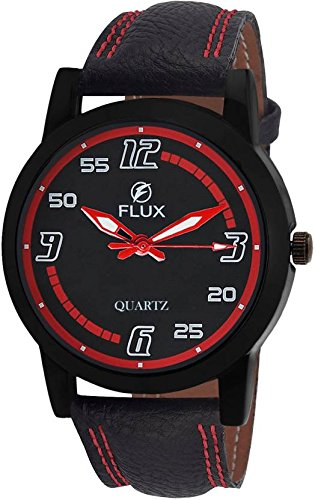 Flux Trendy Analog Black Leather Strap Black Red Dial Men\'s Watch-WCH-FLUX283