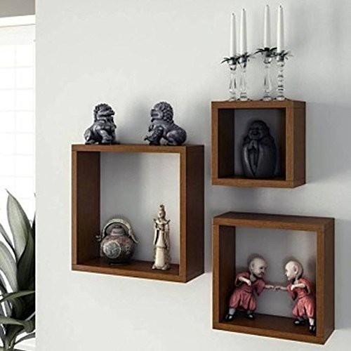 Onlineshoppee Frente Square Floating Wall Shelves Set of 3