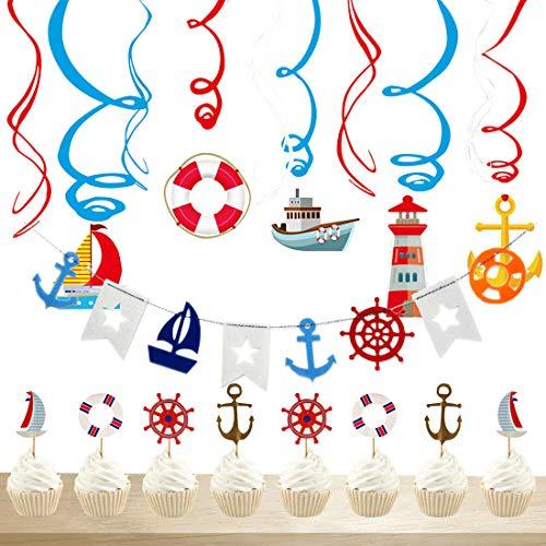 JOYMEMO Nautical Party Dekorationen Sailor Theme Party nautische Bunting Banner, hängende Strudel und Cupcake Topper für Geburtstagsfeier, Baby-Dusche, Bachelorette