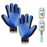 Fellpflege-Handschuh und Fusselrolle Gesetzt, V Vontox Haustiere Bürste Handschuh zur einfachen Entfernung loser Tierhaare-Wie eine Massage für Hund und Katze, 1 Paar Handschuh, Fusselrolle und 1 Ersatzrollen