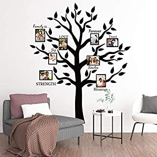HomeEvolution Large Black Family Tree Photo Frames Wall Stickers Quotes for Living Room Home Decor Art (Black)