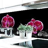 Küchenrückwand Orchideen Pink Premium Hart-PVC 0,4 mm selbstklebend 220x51cm