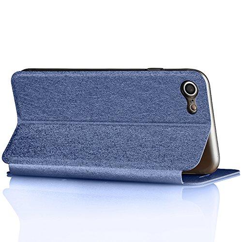 Schwarz Fußball Stil PU-Leder Hülle Flip Case TPU Silikon Zurück Schutzhülle Cover + Displayschutzfolie für Apple iPhone 7 Vooway® MA00311 Blau