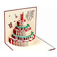BC Worldwide Ltd handmade 3D pop up popup card Happy birthday cake for birthday girl, boy, him, her.friends,family partner colleagues firework candle flower