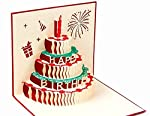 BC Worldwide Ltd handmade 3D pop up popup card Happy birthday cake for birthday girl, boy, him, her.friends,family...