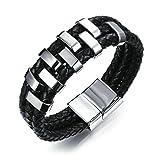 Adisaer Armband Silber Vergoldet Armband Männer Viking Leder Weben Charm Silber Schwarz Geburtstag 46Gr 21Cm Geschenk Für Freund