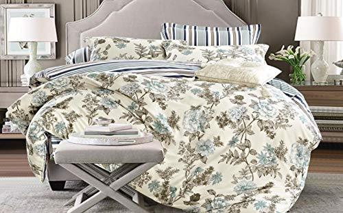 Louisiana Bedding Bettwäsche Bettbezug Set Grün Weiss weiß 100% Baumwolle Kissenbezug Bettdecke-King -