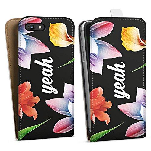 Apple iPhone X Silikon Hülle Case Schutzhülle Blumen Yeah Hipster Downflip Tasche weiß
