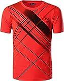 jeansian Herren Sportswear Quick Dry Short Sleeve Men's Tee T-Shirt Tops Tshirt LSL133 Orange XL