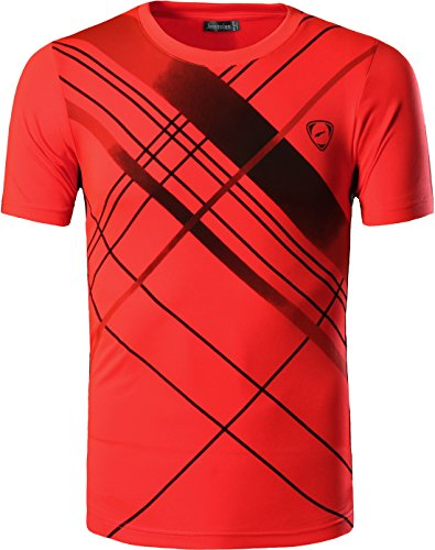 jeansian Herren Sportswear Quick Dry Short Sleeve Men's Tee T-Shirt Tops Tshirt LSL133 Orange M