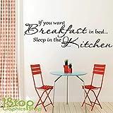 1Stop Graphics Shop - If You Want petit déjeuner dans le lit CITATION Autocollant Mural - Cuisine Déco Murale décalcomanie X174 - Lavendar, Large