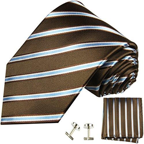 Cravate marron rayée ensemble de cravate 3 Pièces ( 100% Soie Cravate + Mouchoir + Boutons de manchette )
