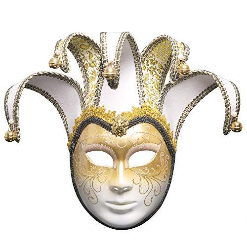 BLEVET Venezianische Joker Full Face Masquerade Glocken Mardi Gras Party Venedig Prinzessin Halloween MZ022 (White)