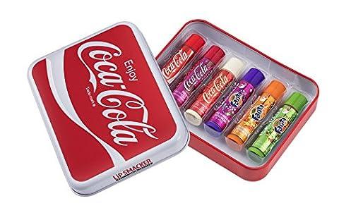 LIP SMACKER Coffret Métal Cannette Plate avec 6 Baumes à Lèvres Coca-Cola Parfums Assortis