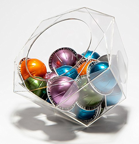 Capsule porta capsule nespresso vertuoline hexagon plexiglass, trasparente, dispenser salvaspazio per macchine nespresso e keurig k-cups–40capsule