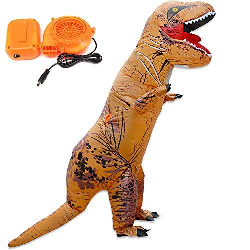 Aufblasbare Kostüm World Jurassic Dinosaurier - OMAS Jurassic World aufblasbares Dinosaurier Kostüm für Unisex Erwachsene,Braun