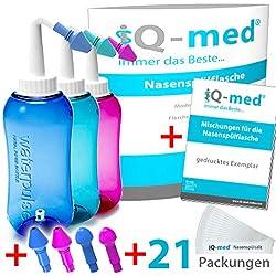 iQ-med Nasendusche 500ml + 21x Salz + Rezeptbuch + 4 Aufsätze (türkis)